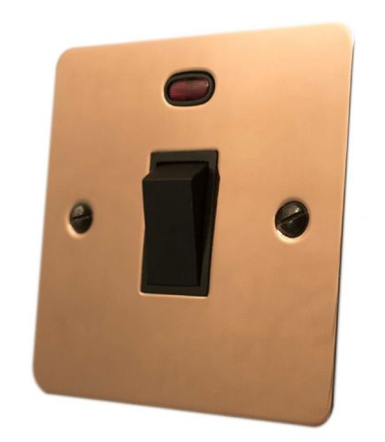 G&H FBC26B Flat Plate Bright Copper 1 Gang 20 Amp Double Pole Switch & Neon